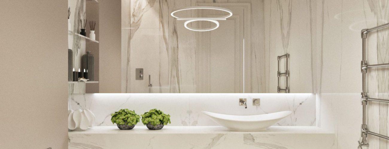 Gương trong phòng tắm cũng là một dụng cụ dùng để khuếch tán ánh sáng càng cao, tạo sự thông thoáng hơn