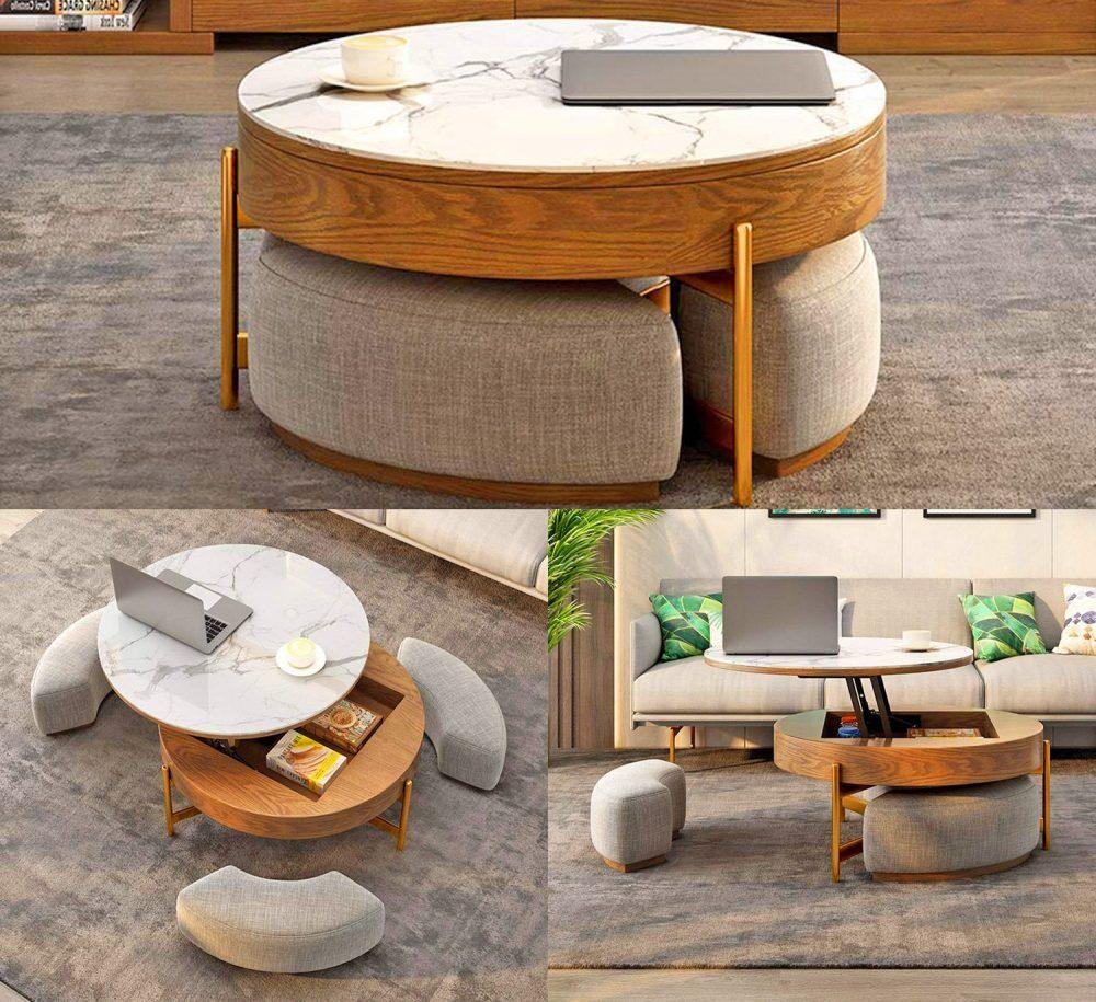 Chiếc bàn trà tích hợp với khu vực chứa đồ bên dưới gọn gàng